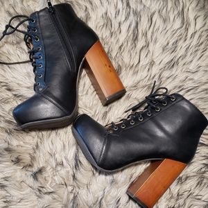 Black Leather Lace Up Chunky Platform Booties